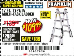 Harbor Freight Coupon 17 FT. TYPE 1A MULTI-TASK LADDER Lot No. 67646/62656/62514/63418/63419/63417 Expired: 6/30/20 - $109.99
