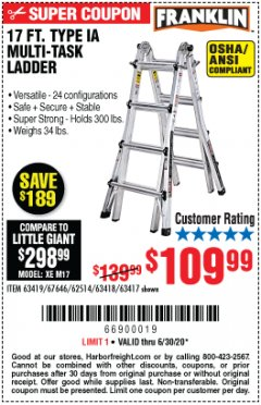 Harbor Freight Coupon 17 FT. TYPE 1A MULTI-TASK LADDER Lot No. 67646/62656/62514/63418/63419/63417 EXPIRES: 6/30/20 - $109.99