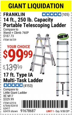 Harbor Freight Coupon 17 FT. TYPE 1A MULTI-TASK LADDER Lot No. 67646/62656/62514/63418/63419/63417 Expired: 9/30/20 - $99.99