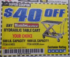 Harbor Freight Coupon 500 LB. CAPACITY HYDRAULIC TABLE CART Lot No. 60730/61405/94822 Expired: 2/29/20 - $139.99