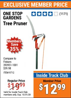 Harbor Freight ITC Coupon TREE PRUNER Lot No. 9712 Expired: 10/31/20 - $12.99