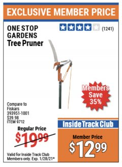 Harbor Freight ITC Coupon TREE PRUNER Lot No. 9712 Expired: 1/28/21 - $12.99