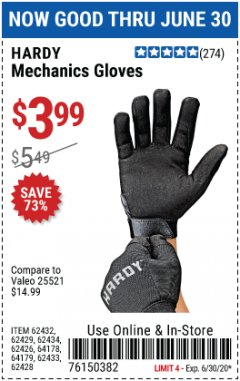 Harbor Freight Coupon MECHANIC'S GLOVES Lot No. 62434/62426/62433/62432/62429/64178/64179/62428 EXPIRES: 6/30/20 - $3.99