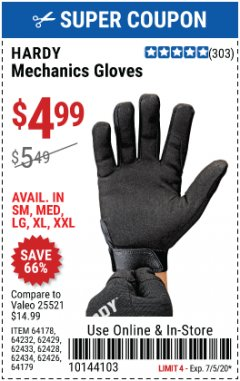 Harbor Freight Coupon MECHANIC'S GLOVES Lot No. 62434/62426/62433/62432/62429/64178/64179/62428 Valid Thru: 7/5/20 - $4.99