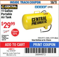 Harbor Freight ITC Coupon 11 GALLON PORTABLE AIR TANK Lot No. 69717/65595 Valid Thru: 6/30/20 - $29.99