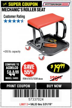 Harbor Freight Coupon MECHANIC'S ROLLER SEAT Lot No. 3338/61653 Expired: 3/31/19 - $19.99