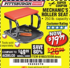 Harbor Freight Coupon MECHANIC'S ROLLER SEAT Lot No. 3338/61653 Expired: 10/7/19 - $19.99