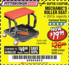 Harbor Freight Coupon MECHANIC'S ROLLER SEAT Lot No. 3338/61653 Expired: 10/27/19 - $19.99