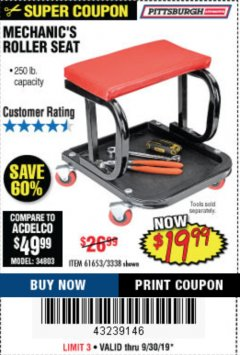 Harbor Freight Coupon MECHANIC'S ROLLER SEAT Lot No. 3338/61653 Expired: 9/30/19 - $19.99