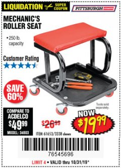 Harbor Freight Coupon MECHANIC'S ROLLER SEAT Lot No. 3338/61653 Expired: 10/31/19 - $19.99