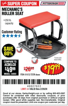 Harbor Freight Coupon MECHANIC'S ROLLER SEAT Lot No. 3338/61653 Valid Thru: 2/29/20 - $19.99