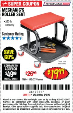 Harbor Freight Coupon MECHANIC'S ROLLER SEAT Lot No. 3338/61653 Expired: 2/8/20 - $19.99