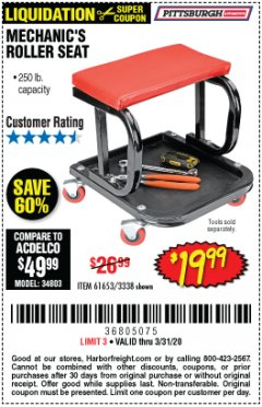 Harbor Freight Coupon MECHANIC'S ROLLER SEAT Lot No. 3338/61653 Valid: 2/24/20 - 3/31/20 - $19.99