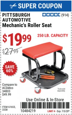 Harbor Freight Coupon MECHANIC'S ROLLER SEAT Lot No. 3338/61653 Expired: 7/5/20 - $19.99