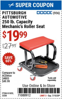 Harbor Freight Coupon MECHANIC'S ROLLER SEAT Lot No. 3338/61653 Expired: 7/31/20 - $19.99