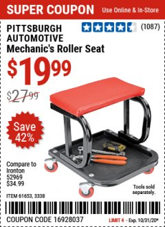 Harbor Freight Coupon MECHANIC'S ROLLER SEAT Lot No. 3338/61653 Valid Thru: 10/31/20 - $19.99