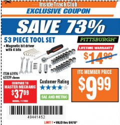 Harbor Freight ITC Coupon 53 PIECE TOOL KIT Lot No. 63339/65976 Expired: 9/4/18 - $9.99
