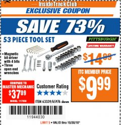 Harbor Freight ITC Coupon 53 PIECE TOOL KIT Lot No. 63339/65976 Expired: 10/30/18 - $9.99