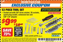 Harbor Freight ITC Coupon 53 PIECE TOOL KIT Lot No. 63339/65976 Expired: 11/30/18 - $9.99