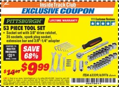 Harbor Freight ITC Coupon 53 PIECE TOOL KIT Lot No. 63339/65976 Expired: 5/31/19 - $9.99