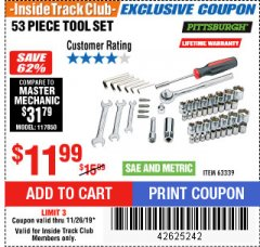 Harbor Freight ITC Coupon 53 PIECE TOOL KIT Lot No. 63339/65976 Expired: 11/26/19 - $11.99