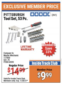 Harbor Freight ITC Coupon 53 PIECE TOOL KIT Lot No. 63339/65976 Expired: 1/28/21 - $9.99