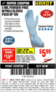 Harbor Freight ITC Coupon POWDER-FREE NITRILE GLOVES PACK OF 100 Lot No. 68496/61363/97581/68497/61360/68498/61359 Expired: 1/10/19 - $5.99