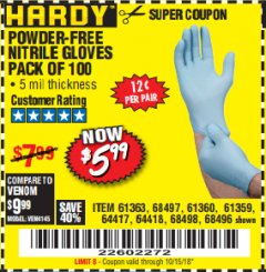 Harbor Freight Coupon POWDER-FREE NITRILE GLOVES PACK OF 100 Lot No. 68496/61363/97581/68497/61360/68498/61359 Expired: 10/15/18 - $5.99