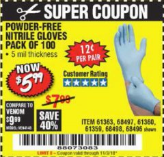 Harbor Freight Coupon POWDER-FREE NITRILE GLOVES PACK OF 100 Lot No. 68496/61363/97581/68497/61360/68498/61359 Expired: 11/3/18 - $5.99