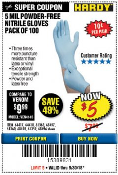 Harbor Freight Coupon POWDER-FREE NITRILE GLOVES PACK OF 100 Lot No. 68496/61363/97581/68497/61360/68498/61359 Expired: 9/30/18 - $5