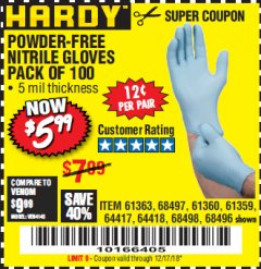 Harbor Freight Coupon POWDER-FREE NITRILE GLOVES PACK OF 100 Lot No. 68496/61363/97581/68497/61360/68498/61359 Expired: 12/17/18 - $5.99