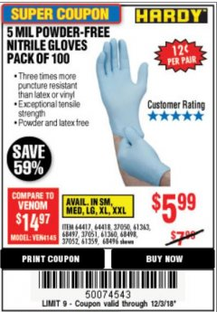 Harbor Freight Coupon POWDER-FREE NITRILE GLOVES PACK OF 100 Lot No. 68496/61363/97581/68497/61360/68498/61359 Expired: 12/3/18 - $5.99