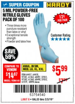 Harbor Freight Coupon POWDER-FREE NITRILE GLOVES PACK OF 100 Lot No. 68496/61363/97581/68497/61360/68498/61359 Expired: 2/3/19 - $5.99