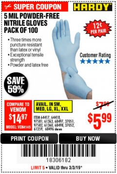 Harbor Freight Coupon POWDER-FREE NITRILE GLOVES PACK OF 100 Lot No. 68496/61363/97581/68497/61360/68498/61359 Expired: 3/3/19 - $5.99
