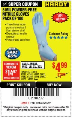 Harbor Freight Coupon POWDER-FREE NITRILE GLOVES PACK OF 100 Lot No. 68496/61363/97581/68497/61360/68498/61359 Expired: 3/17/19 - $4.99