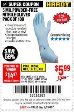 Harbor Freight Coupon POWDER-FREE NITRILE GLOVES PACK OF 100 Lot No. 68496/61363/97581/68497/61360/68498/61359 Expired: 7/21/19 - $5.99