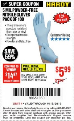 Harbor Freight Coupon POWDER-FREE NITRILE GLOVES PACK OF 100 Lot No. 68496/61363/97581/68497/61360/68498/61359 Expired: 9/15/19 - $5.99