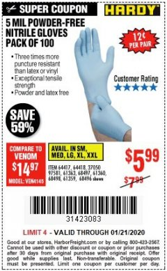 Harbor Freight Coupon POWDER-FREE NITRILE GLOVES PACK OF 100 Lot No. 68496/61363/97581/68497/61360/68498/61359 Expired: 1/21/20 - $5.99