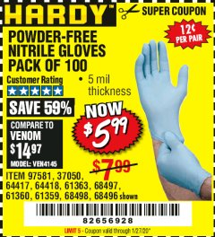 Harbor Freight Coupon POWDER-FREE NITRILE GLOVES PACK OF 100 Lot No. 68496/61363/97581/68497/61360/68498/61359 Expired: 1/27/20 - $5.99