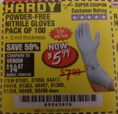 Harbor Freight Coupon POWDER-FREE NITRILE GLOVES PACK OF 100 Lot No. 68496/61363/97581/68497/61360/68498/61359 Expired: 2/20/20 - $5.99