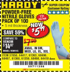 Harbor Freight Coupon POWDER-FREE NITRILE GLOVES PACK OF 100 Lot No. 68496/61363/97581/68497/61360/68498/61359 Expired: 8/30/20 - $5.99
