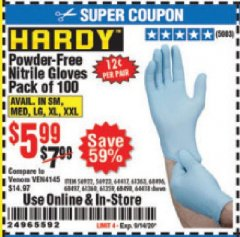 Harbor Freight Coupon POWDER-FREE NITRILE GLOVES PACK OF 100 Lot No. 68496/61363/97581/68497/61360/68498/61359 Expired: 9/14/20 - $5.99